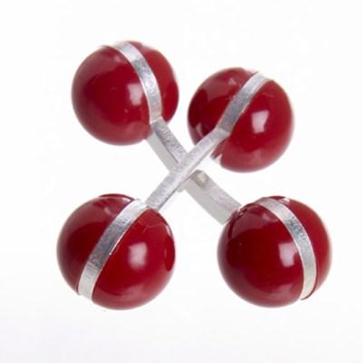 colour ball cufflinks red