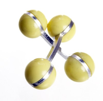 colour ball cufflinks pastel yellow