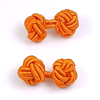 silk knot cufflinks orange