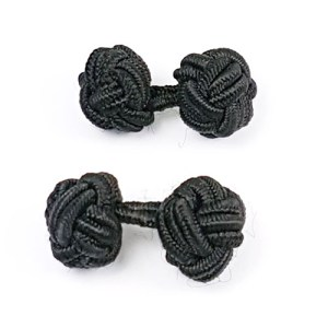 silk knot cufflinks black