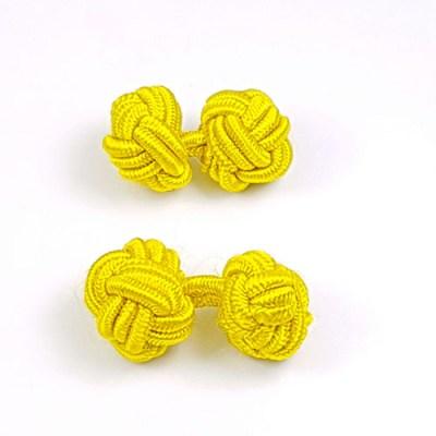 silk knot cufflinks yellow