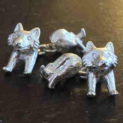 fox cufflinks solid silver