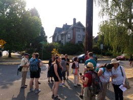 Participants start the walk at North Williams Avenue and North Rosa Parks Way, a low-density community composed of medium-sized houses with modest yards.