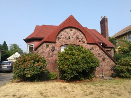 Smaller than most houses in the neighborhood, this unique brick design was made using some bricks recovered from a major fire. Reuse of materials harkens back to a different era, when materials would have been more scarce. Or was this just a use of unusual materials for creative design?