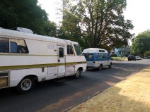 While Portland is a city that's clearly becoming more affluent, its history as an affordable place that welcomed people from a variety of socioeconomic classes is still apparent. An intrepid local manages to tow an aging mobile home with an equally-aging camper van.