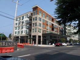 Higher-density buildings towards the south end of our North Williams Avenue transect feature amenities such as balconies and garden terraces. New construction is everywhere.