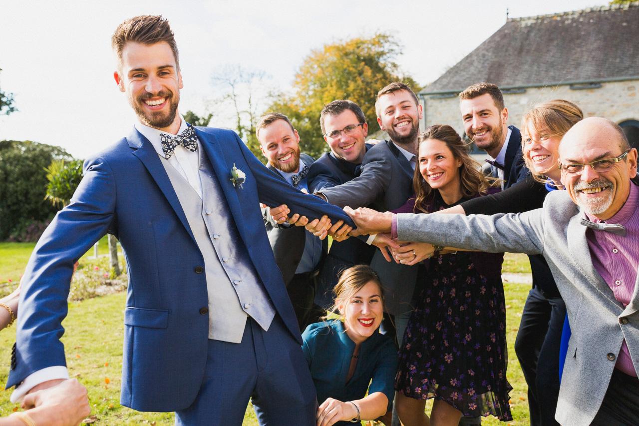 photo de groupe mariage quimper pont Labbe