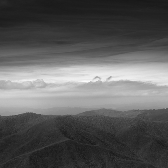 Black and white view from the Blue Ridge Parkway