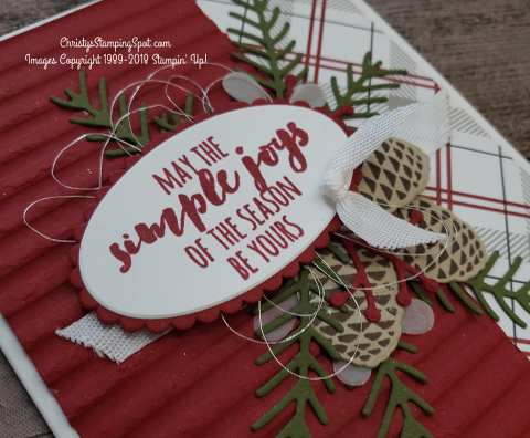 For this lovely Christmas Pines stamp set and Pretty Pines thinlit dies card close up I used the Festive Farmhouse DSP and the Corrugated embossing folder.
