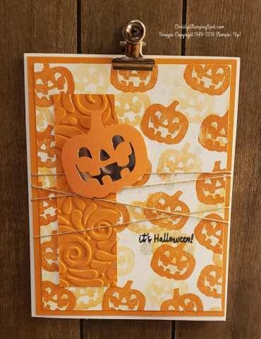 Paper pumpkin alternative September 2018 kit card with pumpkins.