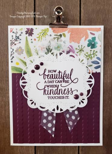 blackberry bliss striped scallops embossing folder and Frosted Floral DSP