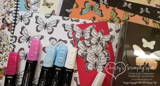 Botanical Butterfly DSP, Butterfly Duet Punch,Stampin' Blends and Wink of Stella