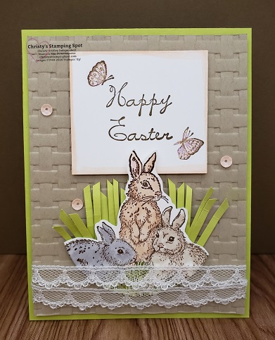 Retired The Gifts of Spring stamp set and the Basket Weave embossing folder.