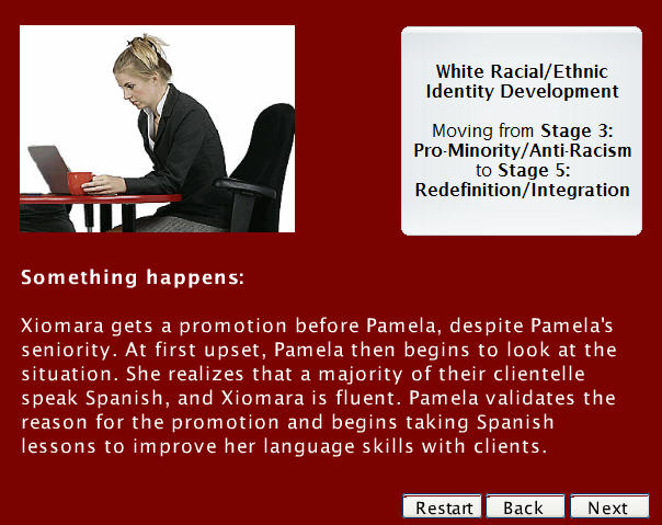 Screenshot from a course on cultural competency for teachers, one of my best ID projects. This is a snippet of a story about Pamela, a woman who was growing in understanding racial identity.