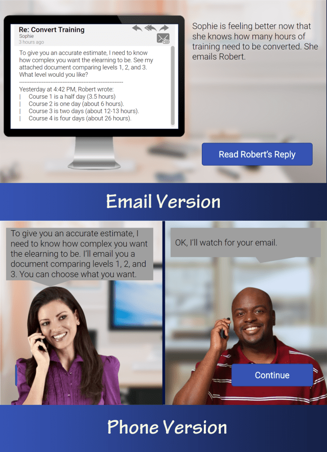 "Comparison of email and phone showing similar text: ""To give you an accurate estimate, I need to know how complex you want the elearning to be."""