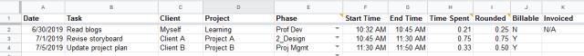 Time tracking template screenshot