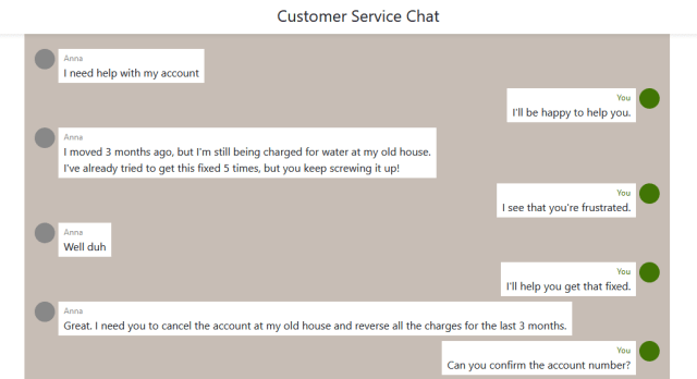 Screenshot of a chat simulation with a customer service conversation. Select the image to try the simulation.