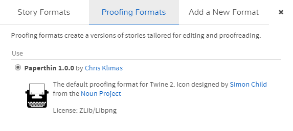 Twine screenshot. Install Illume step 2, proofing formats