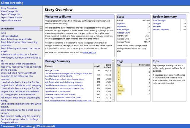 Screenshot of illuminated story using Illume proofing format