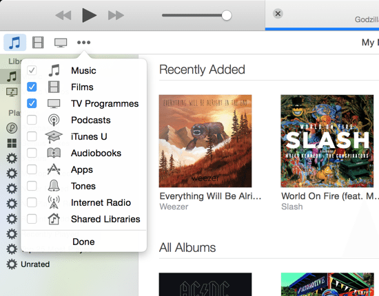 iTunes 12 Menu Preferences