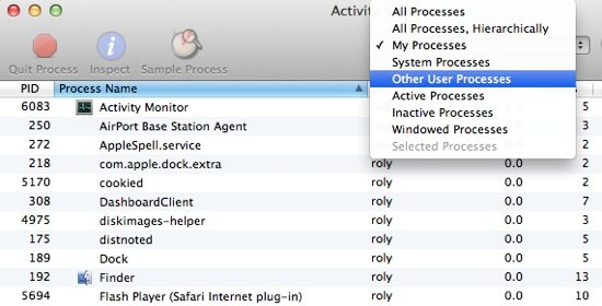 Activity Monitor - Process Types