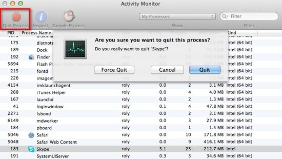 Activity Monitor Quit Process