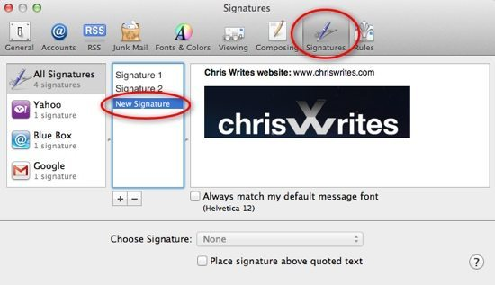 New Signature in Mail Screenshot