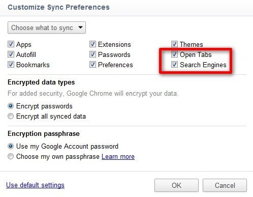 Customise Sync Preferences