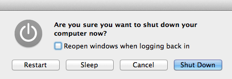 Login more quickly by disabling reopening of windows