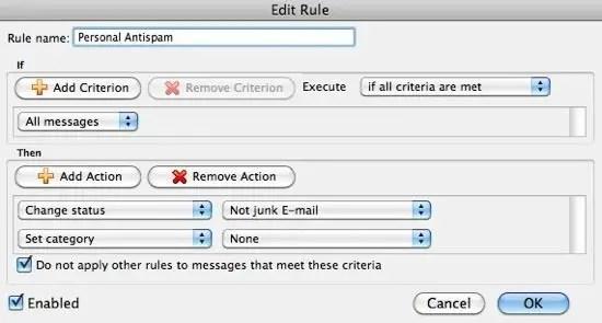 Personal Antispam Rules Screenshot