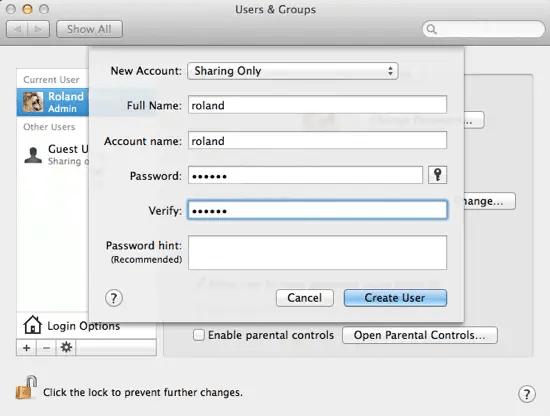 Create New Sharing User
