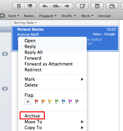Archive old emails Mail OS X