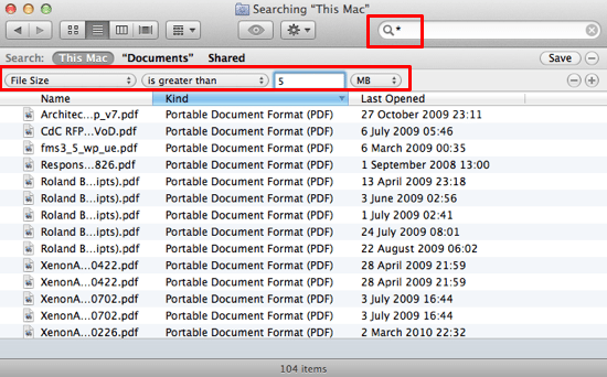 Finder locate large files