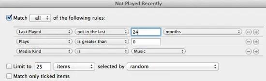smart smart playlist delete old iTunes media files