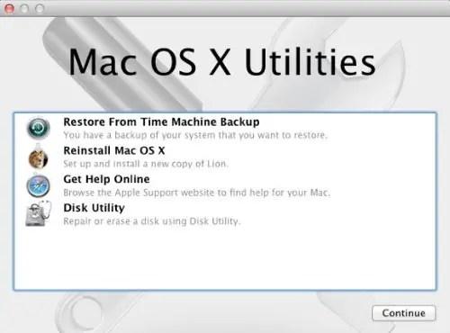 Mac OS X Utilities screen