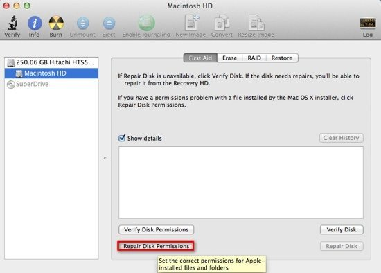 Repair Disk Permissions