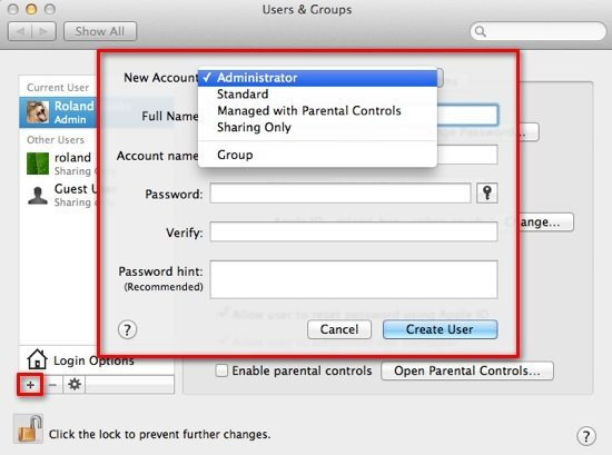 Create New User Account