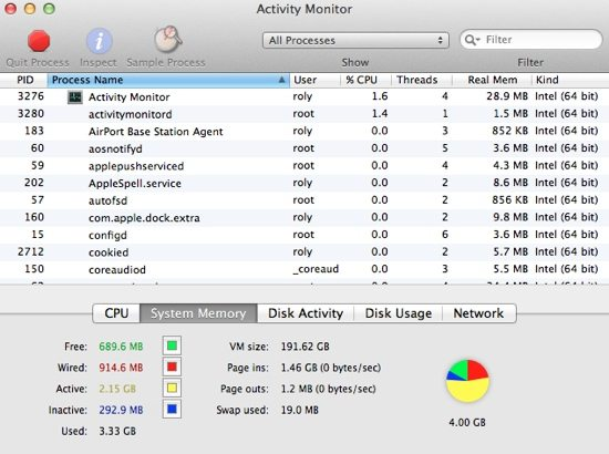 Activity Monitor Main Window