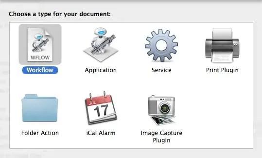 Automator New Workflow