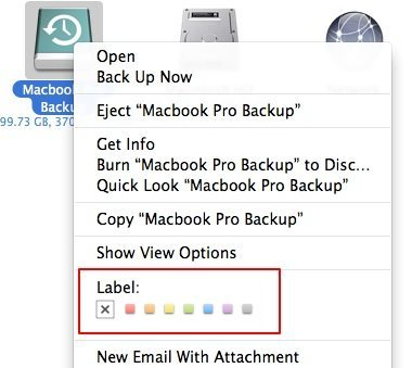 Folder labels screenshot