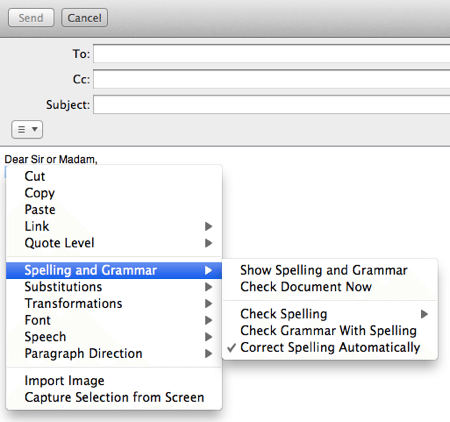 The autocorrection menu in Mail