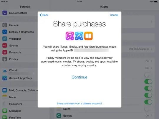 Family Sharing iOS - step 4