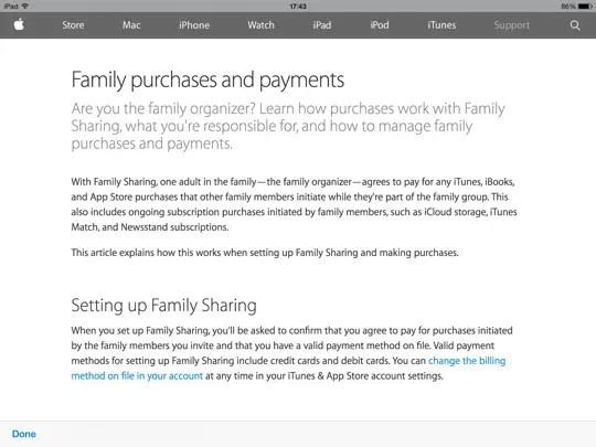Family Sharing iOS - step 6
