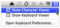 Character Viewer Menu Bar