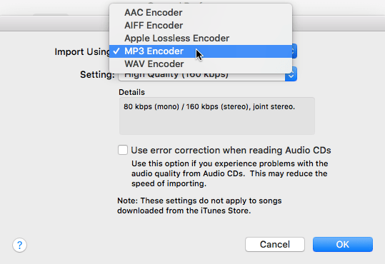 Convert audio files to MP3, AAC, AIFF, Apple Lossless, or