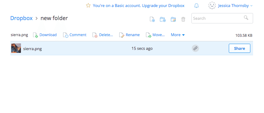 dropbox share button