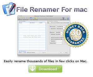 File Renamer to rename thousands of files in few clicks on Mac.
