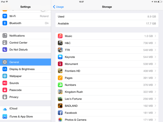 iOS 8 Upgrade - Usage Screen