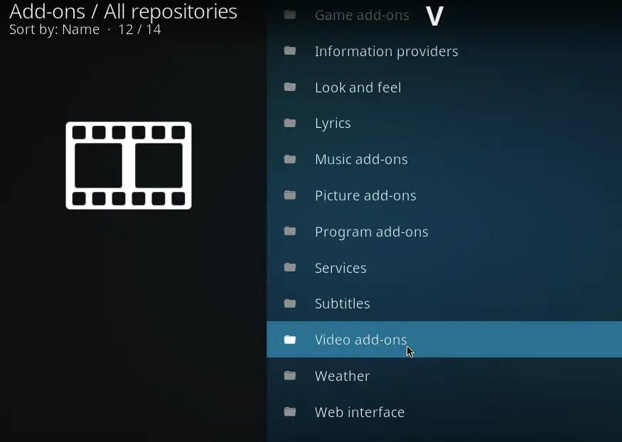 kodi built in add ons