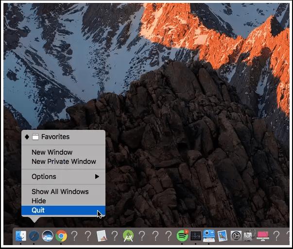 mac dock quit